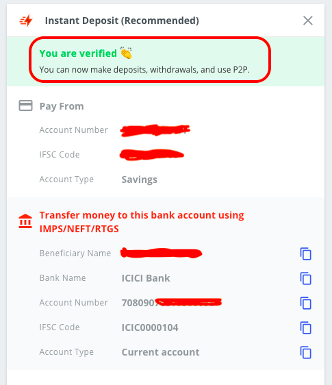 Deposit And Withdraw Funds From Wazirx Account Number Detail
