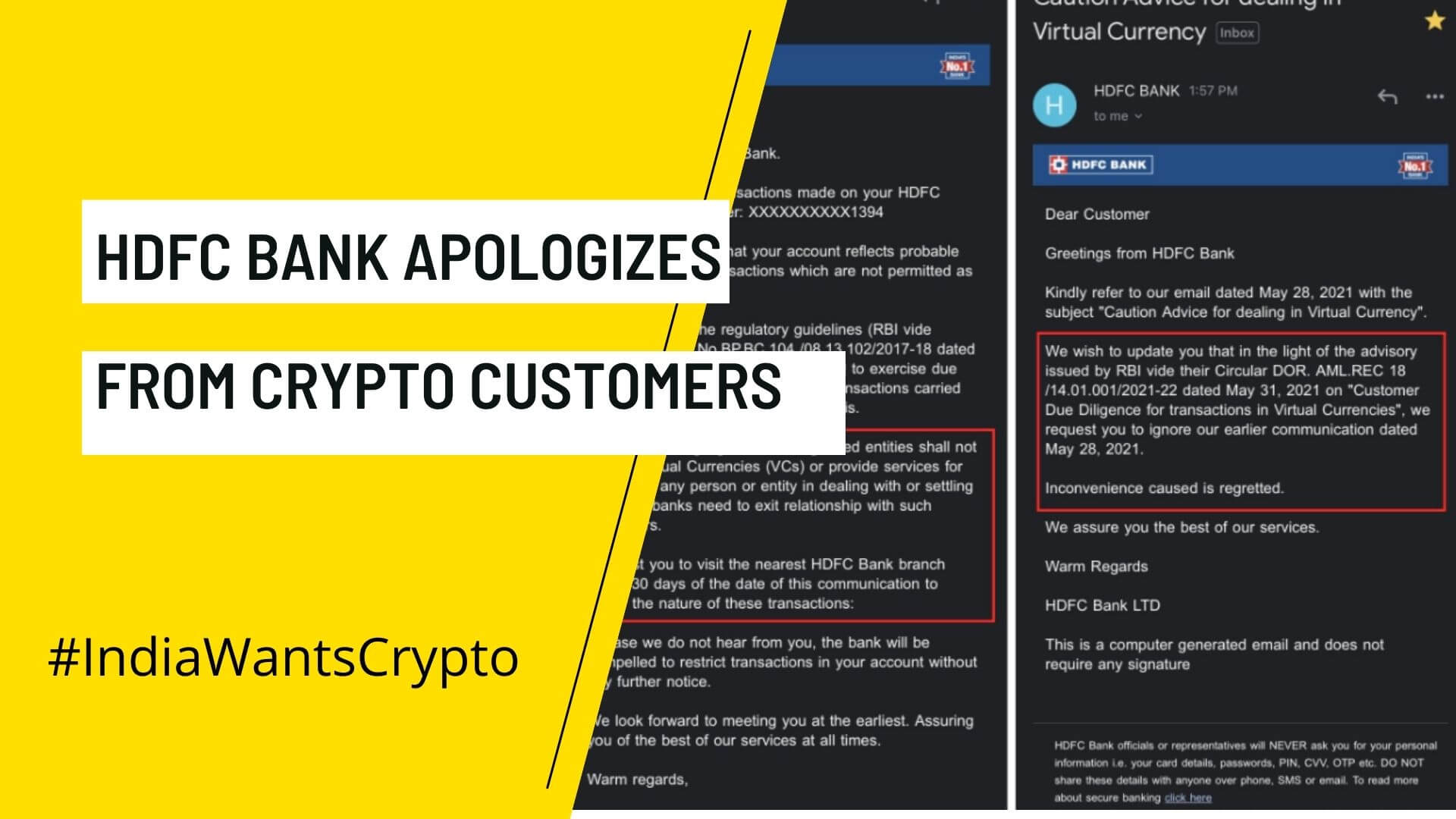 HDFC Bank Said Sorry For Crypto Transaction